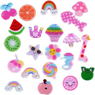 21 Pack Multi Glitter Fruit Sea Animal Ice Cream Rainbow Slime Charms Resin Flatbacks Buttons Polymer Clay Beads for Miniature Fairy Garden Hair Accessories DIY Scrapbooking Phone Case Jewelry Making
