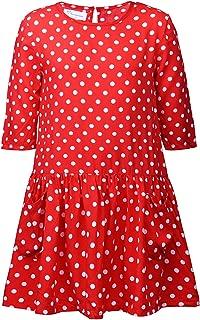 Sharequeen Girls Sailor Polka Dot Cotton Dress Bowknot Red Long Sleeves A-line Uniform Casual SQ8239