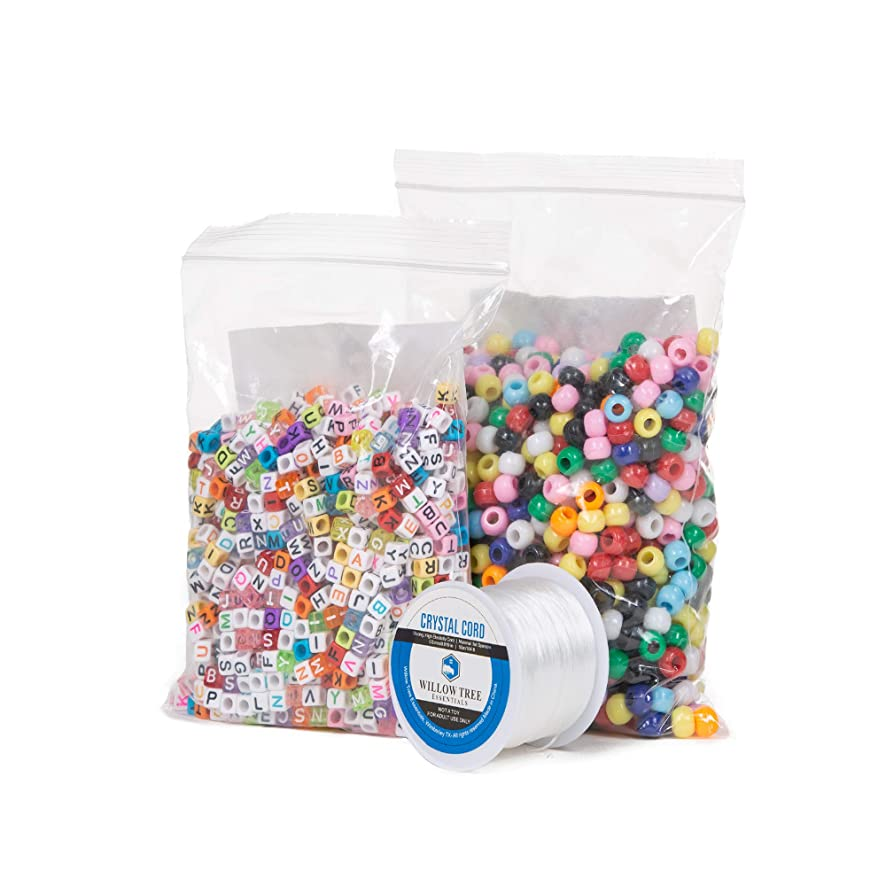 Pony Beads Bundle | 1000 Multi-Color 6x9 mm Pony Beads and 1000 (4 Variations) Full Alphabet 6x6mm Letter Beads | Resealable Bags | with Bonus 164 Foot Jewelry Cord
