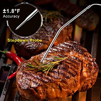 Wireless Meat Thermometer, Tranmix Remote Digital Cooking Food Meat Thermometer with Dual Probes for Smoker Grilling ...