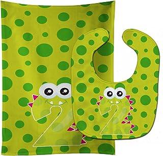 Caroline's Treasures Monster Month 2 Baby Bib & Burp Cloth, Multicolor, Large