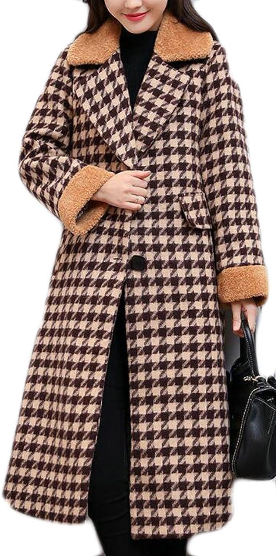 GenericWomen Generic Womens Plaid Notched Collar Wool Blend MidLength Pea Jacket