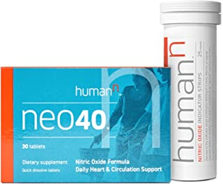 HumanN Neo40 Daily Bundle | Heart and Circulation Support Nitric Oxide Boosting Supplement with N-O Indicator Test Strips,...