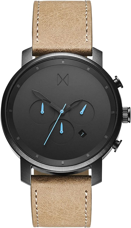 MVMT Reloj Cronógrafo para Hombre de Cuarzo con Correa en Cuero D-MC01GML