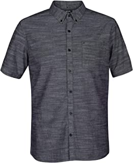 Hurley Men's One & Only Textured Short Sleeve Button Up, Black, XXL