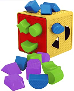 ETI Toys, 19 Piece Unique Educational Sorting & Matching Toy for Toddlers. Colorful Sorter Cube Box & Shapes, 100 Percent ...