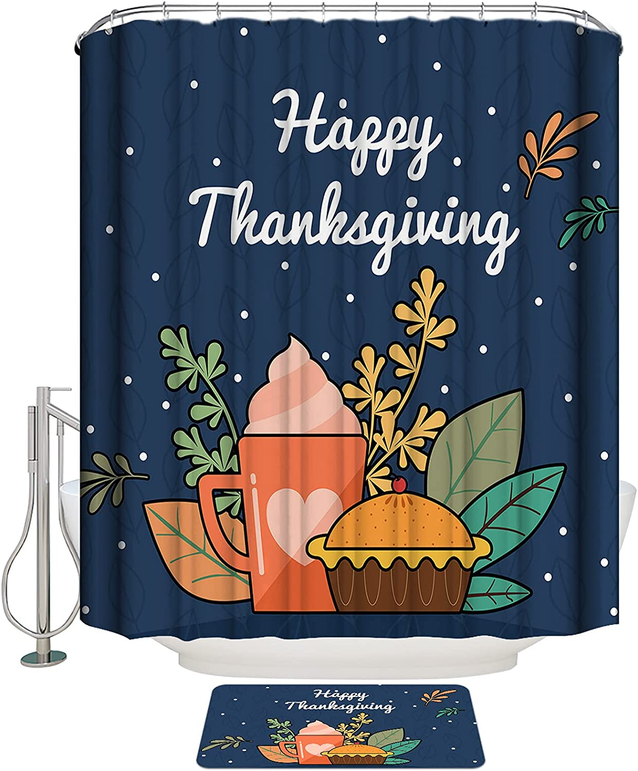 COLORSUM Shower Curtain Sets with Washington Mall Happy Non-Slip 2021 spring and summer new Rugs Thanksgivi