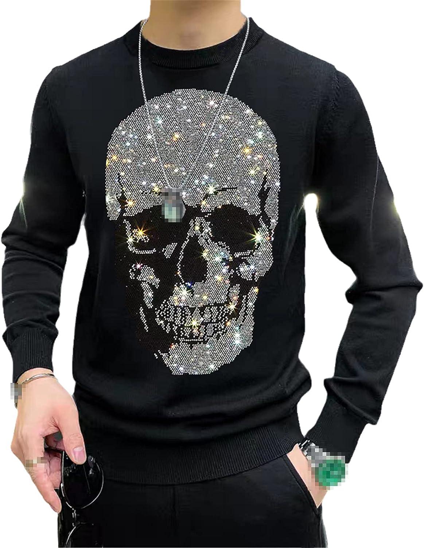 European Winter Skull Men's Sweater Slim Glowing Hip-Hop Print Pattern Street Warm Top