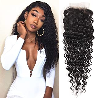 Ali Pearl Deep Wave Hair 4x4 Lace Closure Ali Pearl Deep Wave Curl Brazilian Human Hair Extentions (16 closure)