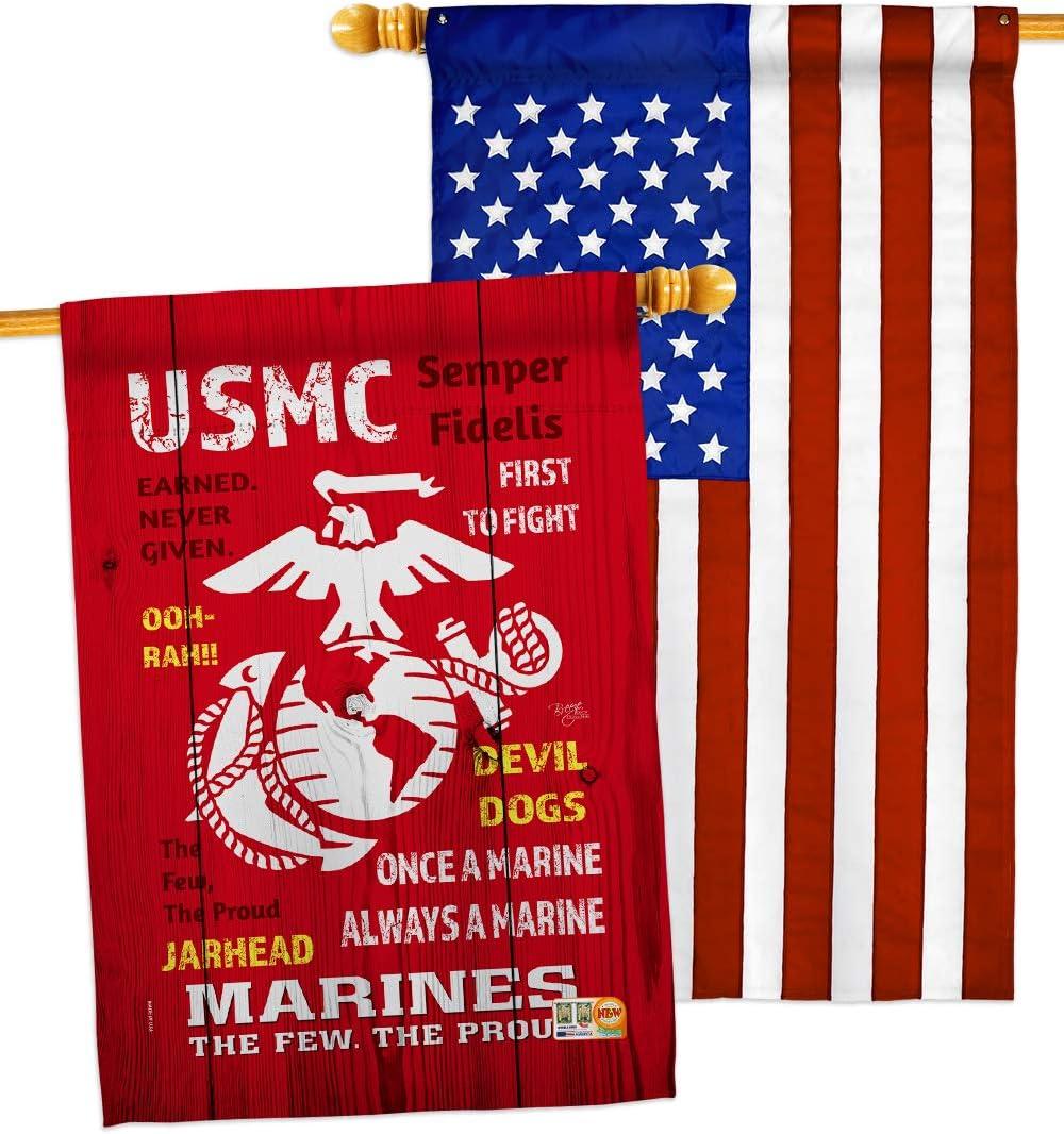 Breeze Decor USMC House Flag Pack Forces Corps 40%OFFの激安セール 格安 価格でご提供いたします Marine Semp Armed