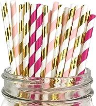 Just Artifacts Assorted Decorative Striped Paper Straws 100pcs - Light Pink/Fuchsia/Metallic Gold Striped