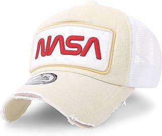 561a6b716bd ililily NASA Worm Logo Embroidery Baseball Cap Mesh Snap Back Trucker Hat  Flat Bill
