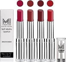 MI FASHION 4 Soft Creamy Matte Pout-Perfect Lipstick (Magenta, Brown Sugar, Maroon Rebel, Romantic Red)
