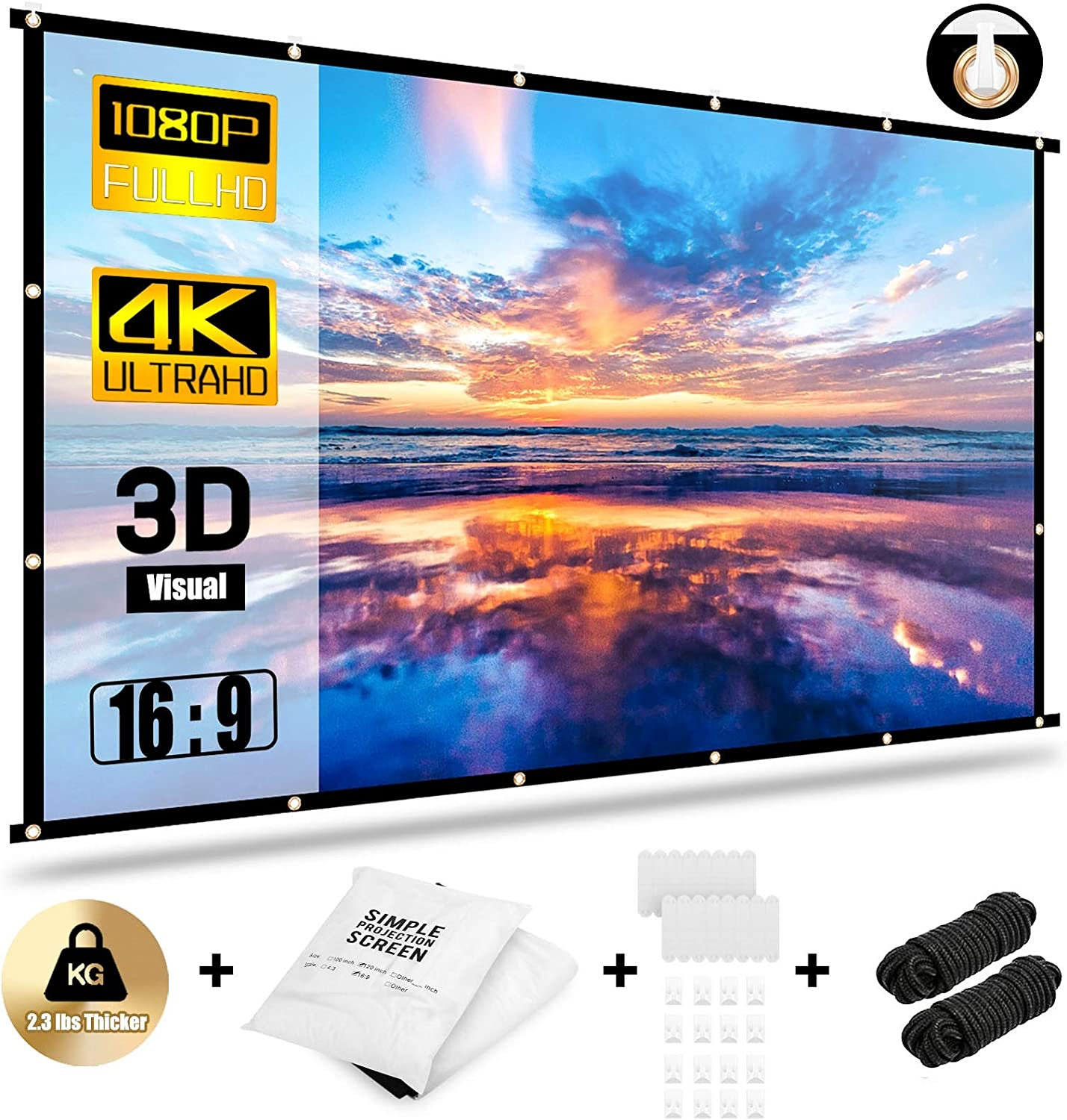 Abosi Projector Screen 16:9 HD Foldable Anti-Crease Portable Projection Movies Screen for Home Theater Outdoor Indoor Support Double Sided Projection (150 inch)