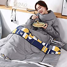 Lazy Quilt Blanket with Sleeves, Multifunction Wearable TV Blanket, Polyester Throw Blanket for Couch, Sofa Home Nap,I,59 ...