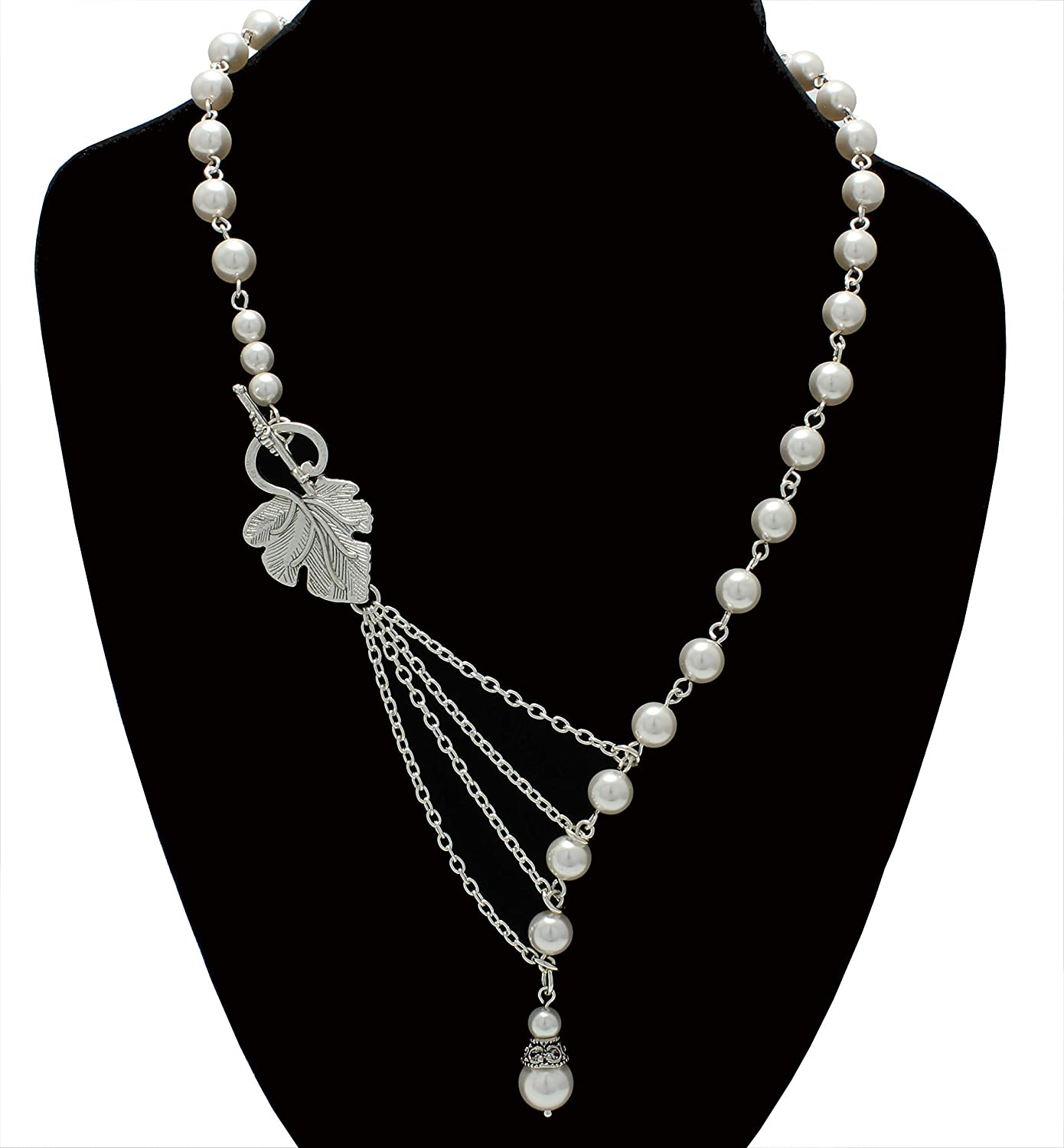 Asymmetrical Cheap mail Ranking TOP1 order shopping Pearl Necklace Black Jewelry Tie Custom