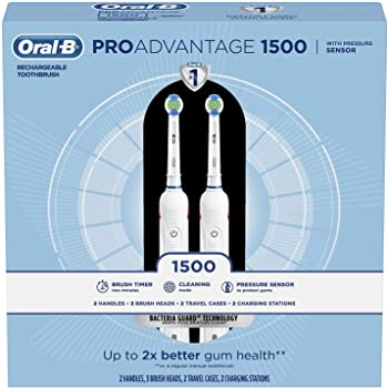 2-Pack Oral-B ProAdvantage 1500 Electric Rechargeable Toothbrush by Braun
