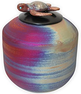Beautiful Life Urns Honu Ceramic Medium Cremation Urn - Handmade Funeral Urn Topped with a Sculpted Sea Turtle