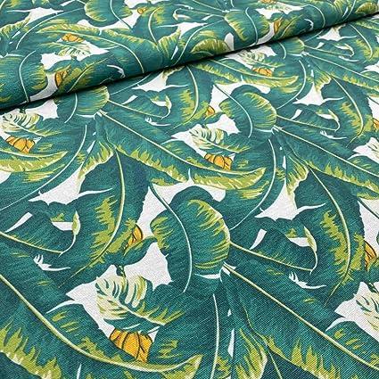 LAS TELAS .. Loneta Estampada Ramas Verdes y Flores Colores Tejido por Metros 1 Mtr. Ancho de 2,80 Mtrs
