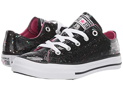 Converse Kids Chuck Taylor(r) All-Star(r) Galaxy Glimmer Ox (Little Kid/Big Kid) (Black/Mod Pink/White) Girls Shoes