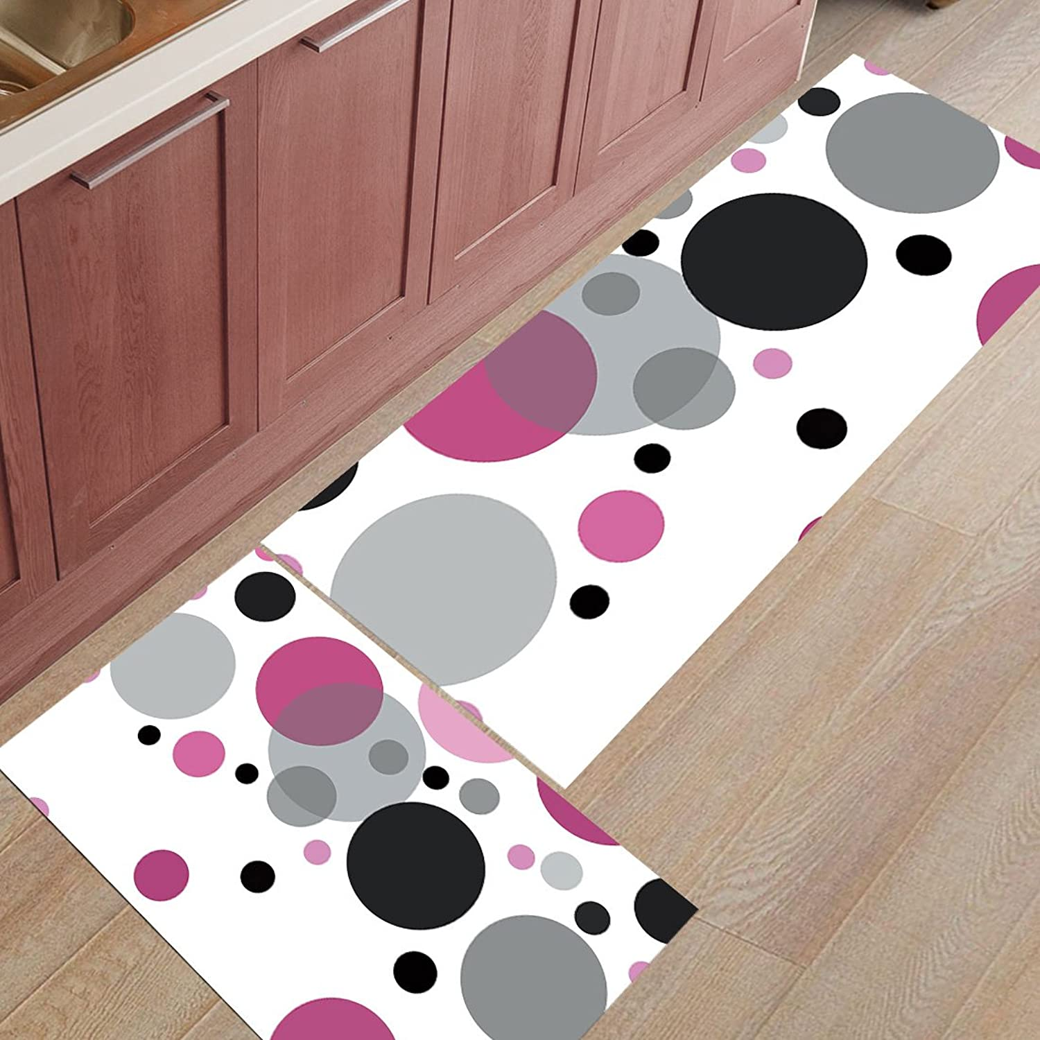 Z&L Home 2 Pieces Kitchen Rugs and Mats Non Slip Rubber Backing Floor Carpet Accent Area Runner Thin Low Pile Indoor Doormat Set-colorful Bubbles
