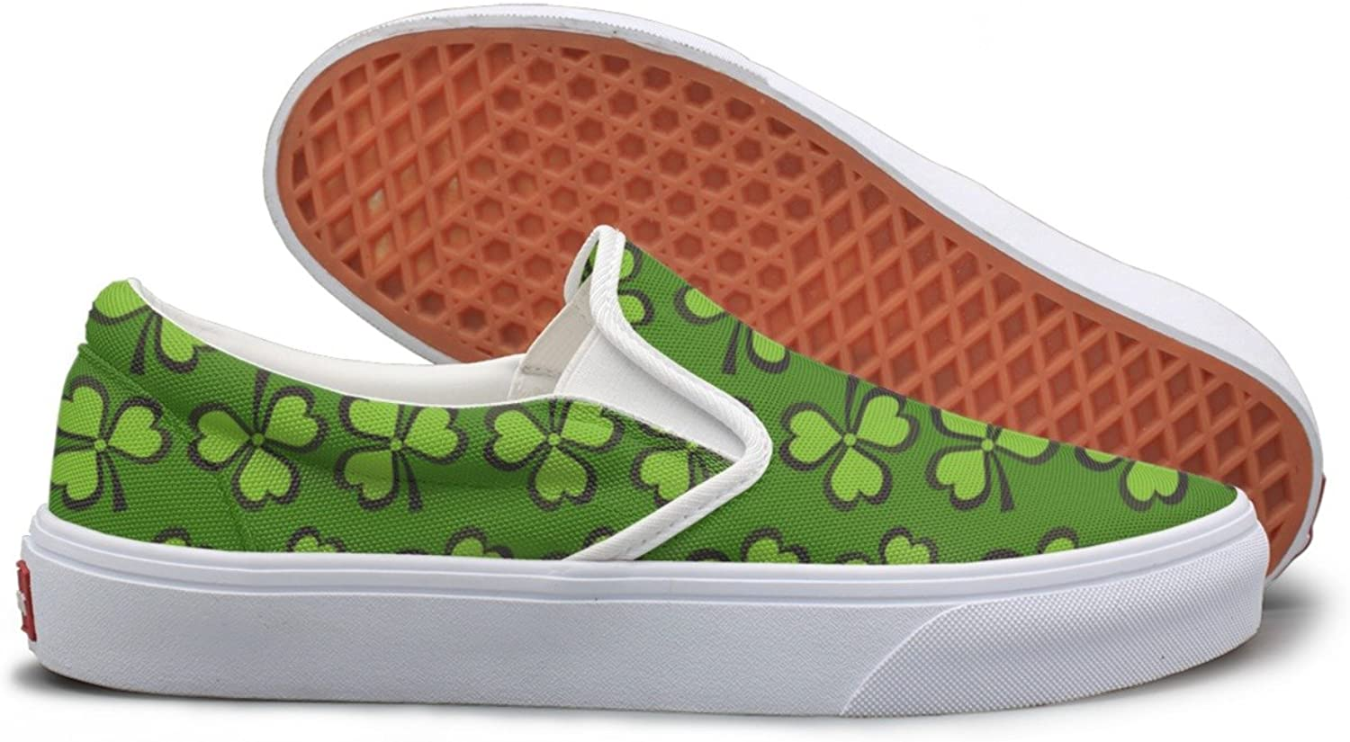 SEERTED Green Shamrock Spider Plants Slip On Canvas shoes for Women Wide