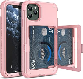 WeLoveCase iPhone 11 Pro Wallet Case Defender Wallet Card Holder Cover with Hidden Mirror Three Layer Shockproof Heavy Duty Protection All-Round Armor Protective Case for Apple iPhone 11 Pro Pink