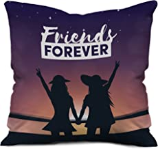 Gemshop Girls Holding Hands Friends Forever Text Printed Micro Satin Cushion Cover (12 X 12) Multi Color