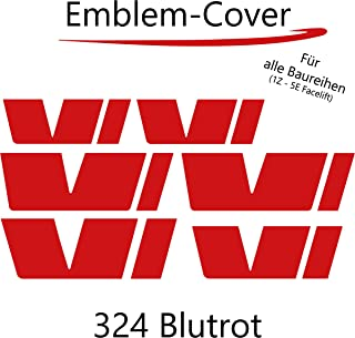 P029 | PrintAttack Emblem Folie Cover Set passend für die Innenflächen Logo Aufkleber Skin Kühlergrill (Blutrot)