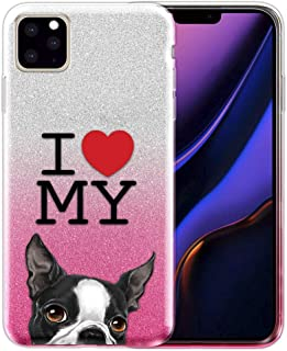 FINCIBO Case Compatible with Apple iPhone 11 Pro 5.8 inch 2019, Sparkling Silver Pink Gradient Glitter TPU Protector Cover for iPhone 11 Pro (NOT FIT 11 Pro Max) - I Love My Boston Terrier Dog