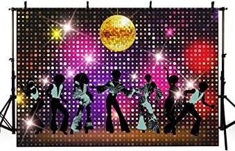 MEHOFOTO Vintage 80s 90s Disco Themed Let's Glow Crazy Night Party Backdrop Banner Neon Dancers Shiny Adults Birthday Background Decorations Photo Studio Props 7x5ft