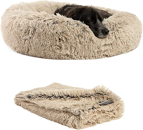 Best Friends by Sheri The Original Calming Donut Dog Bed in Shag Fur, Self-Warming Machine Washable Pet Bed in Multip...