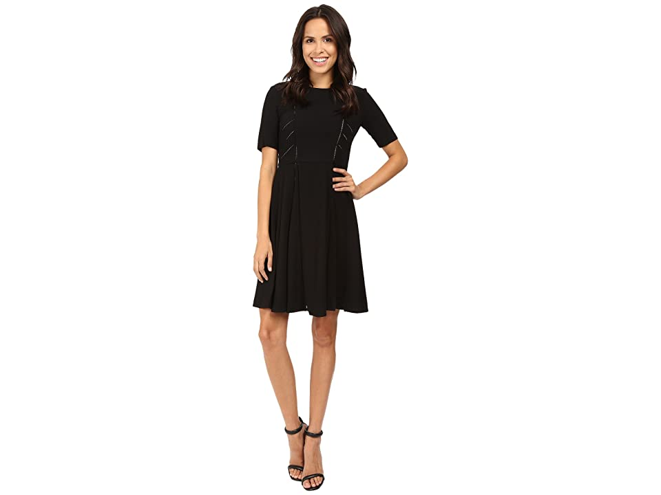 Taylor Ladder Lace Inset Fit-and-Flare Dress (Black) Women