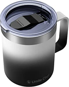 Umite Chef Stainless Steel Insulated Coffee Mug Tumbler with Handle, 12 oz Double Wall Vacuum Tumbler Cup with Lid Insulated Camping Tea Flask for Hot & Cold Drinks(Orcas)