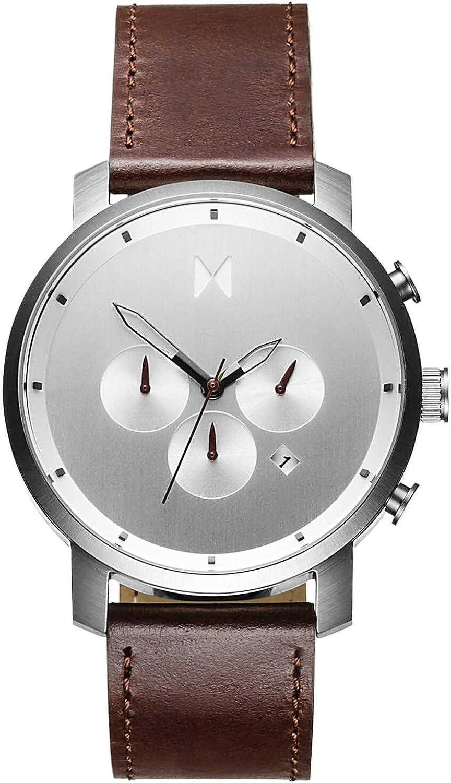 MVMT Reloj Cronógrafo para Hombre de Cuarzo con Correa en Cuero D-MC01-SBRL