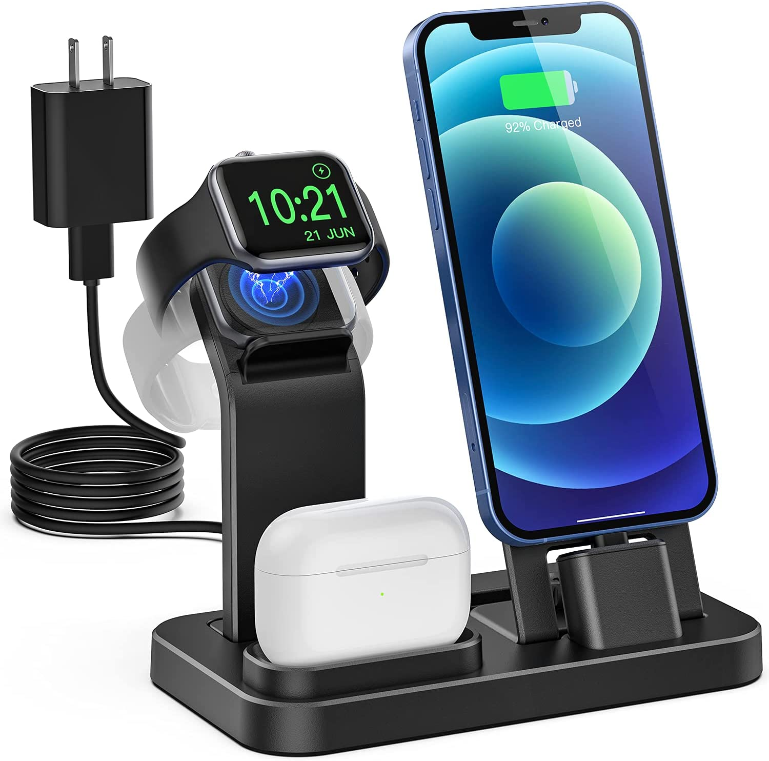 Tinetton 3 in 1 Charging Station Compatible with Apple Watch iPhone AirPods with 10W Adapter