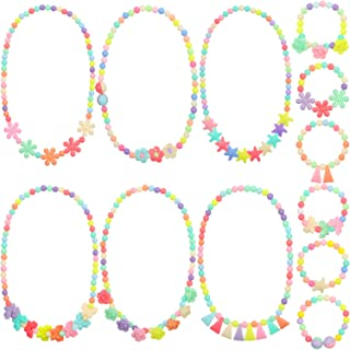 Bememo 6 Sets of Princess Necklace Bracelet Kids Play Jewelry Little Girls Costume Necklaces Toddler Dress up Jewelry