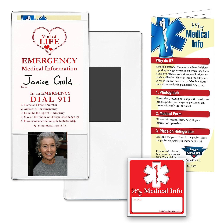 StoreSMART   Vial/File of Life Medical Info Pocket   Magnetic Back   20 Pack    for Refrigerator, Locker, Filing cabinets   VHTSM 20