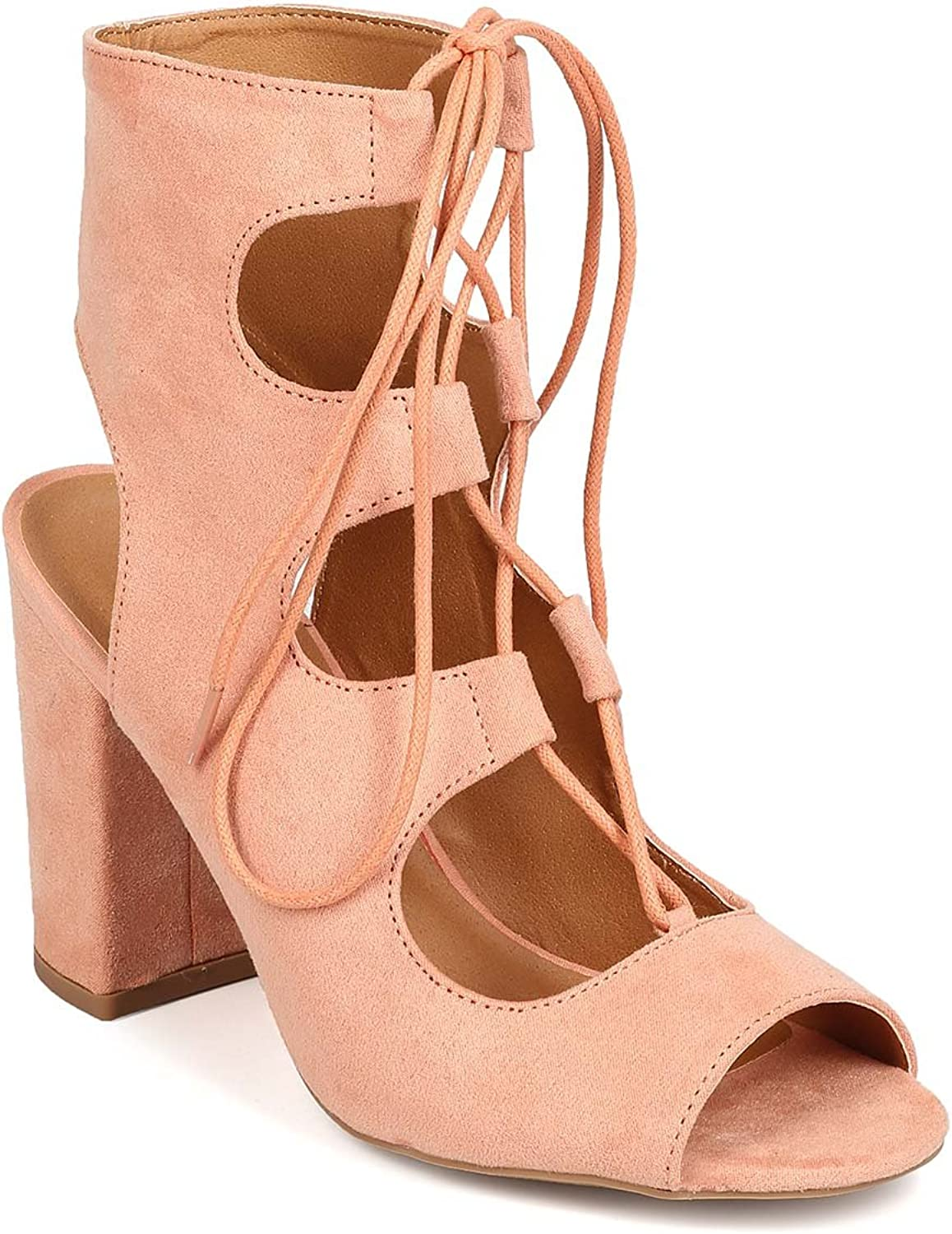 Qupid Faux Suede Peep Toe Lace up Chunky Heel FC33 - Melon