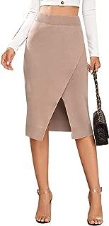 SweatyRocks Women's High Waist Bodycon Pencil Midi Knit Sweater Skirt with Split