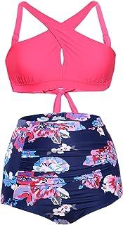 Bdcoco Women's Vintage High Waist Floral Bottoms Front Cross Bikini Swimsuit