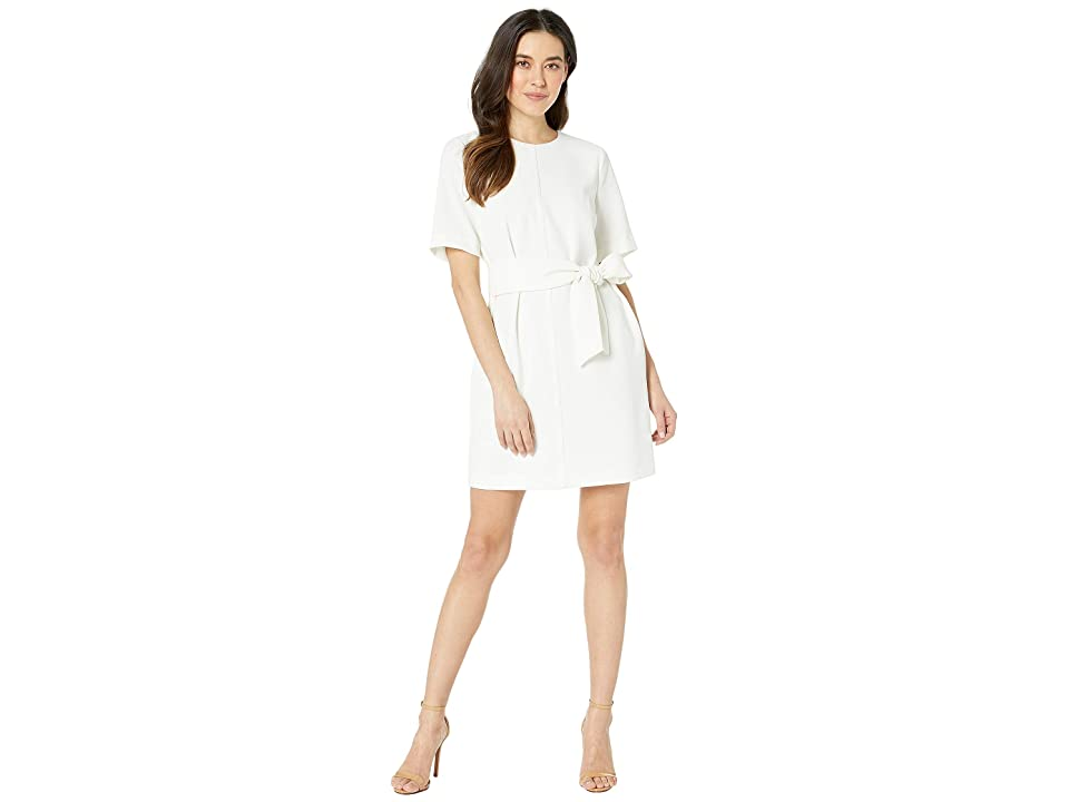 Vince Camuto Specialty Size Petite Short Sleeve Parisian Crepe Belted Dress (Pearl Ivory) Women