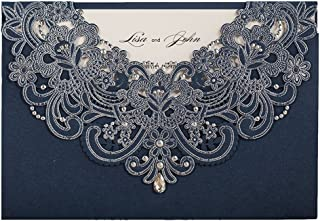 WISHMADE 50 Navy Blue Laser Cut Wedding Invitations Kit, Rhinestone Design Personalized invites for Bridal Shower Birthday Dinner Graduation Party Quincerea with Envelopes