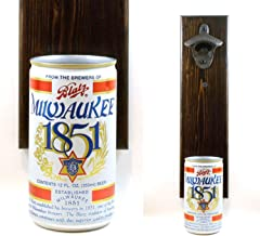 Wall Mounted Beer Bottle Opener With A Vintage Blatz Milwaukee 1851 Beer Can Cap Catcher