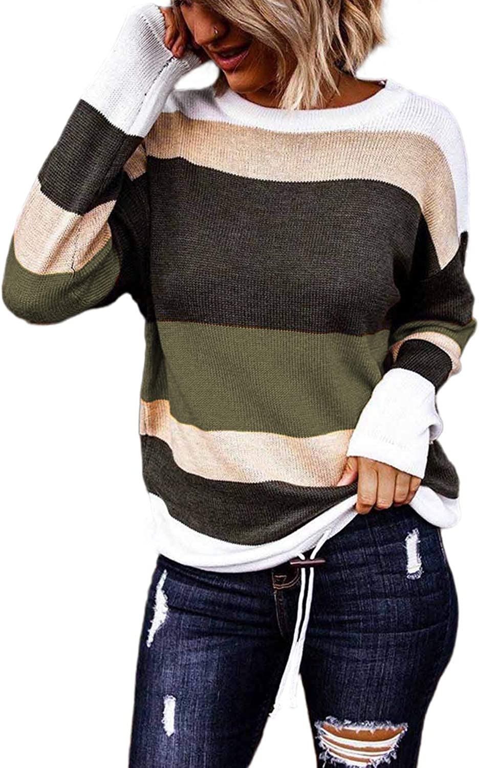 Paitluc Striped Sweater Women's Round Neck Knitted Long Sleeve Color Block Drawstring Hem Pullover Sweaters