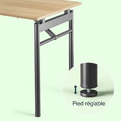 Bureau pliant à cadre noir en métal avec finition résistante à l'eau 119 cm ZINUS Mare | Table pliante multi-usage | Station de travail | Meuble déjà monté