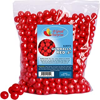 Red Gumballs for Candy Buffet - Apx. 620 Gumballs - 2 Pounds - Mini Gumballs 1/2 Inch - Red Candy -Bulk Candy