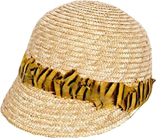 Hats with Feathers Cool Visor Summer Hat Women's Straw Hat Fashion (Color : Beige, Size : One Size)