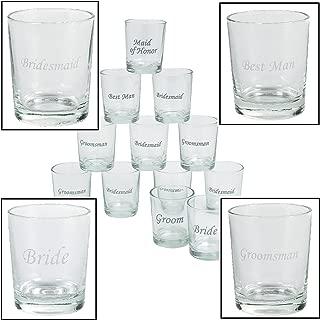 Etched Wedding Party Shot Glasses (12 Pieces) 1 oz. 2
