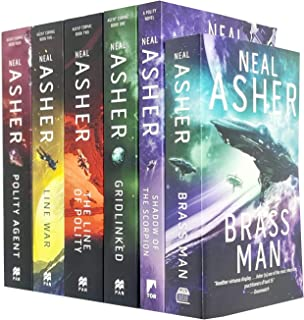 Neal Asher Agent Cormac Series 6 Books Collection Set (Shadow of the Scorpion, Gridlinked, The Line of Polity, Brass Man, ...